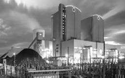Atomkraftwerk von außen bei nacht