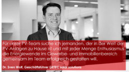 Dr. Sven Wolf ist Geschäftsführer bei GETEC solar solutions